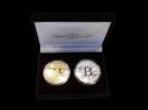 Set doua monede Bitcoin din otel aurit si argintat