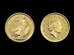 Moneda de aur Britannia 1/10 oz