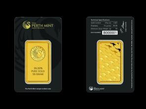 Lingou de aur 50 grame Perth Mint