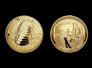Moneda de aur Apollo 11 - a 50 a aniversare - USA - la comanda
