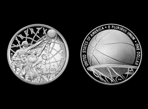 Moneda de argint Basketball Hall of Fame